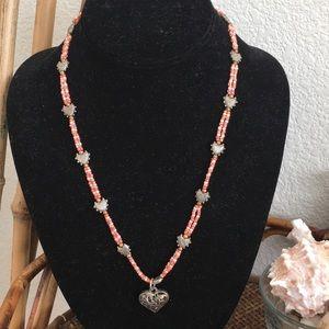 MACY'S Orange Bead and Dark Silver Hearts Necklace